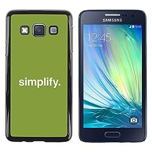 Caucho caso de Shell duro de la cubierta de accesorios de protección BY RAYDREAMMM - Samsung Galaxy A3 - Simplificar