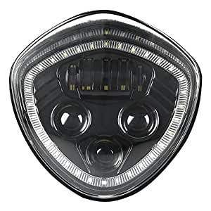 VICTORY Led Headlight with Halo Angel Eye DRL LED Headlamp For 07-17 Victory Motorcycle Cruisers Cross Road Country-Black