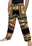 RaanPahMuang Bold and Beautiful African Dashiki Cargo Pant Khakis, Medium, African Dashiki Black Orange Yellow