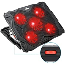 Laptop Cooler, MECO Adjustable Laptop Cooling Pad for 14-17 Inch Laptops and Notebooks, 5 Quiet Fans, Red LED Lights and Dual USB 2.0 Ports