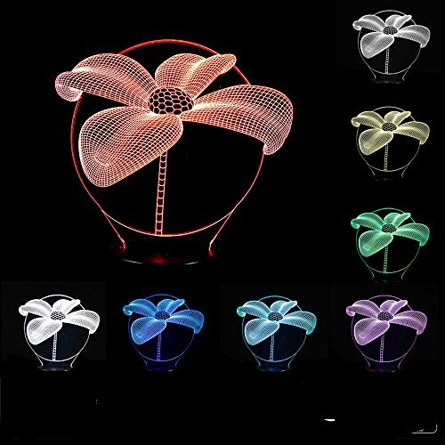 Cheap SUPERNIUDB 3D Lotus Flower Shape Night Light 3D LED USB 7 Color Change LED Table Lamp Xmas Toy Gift