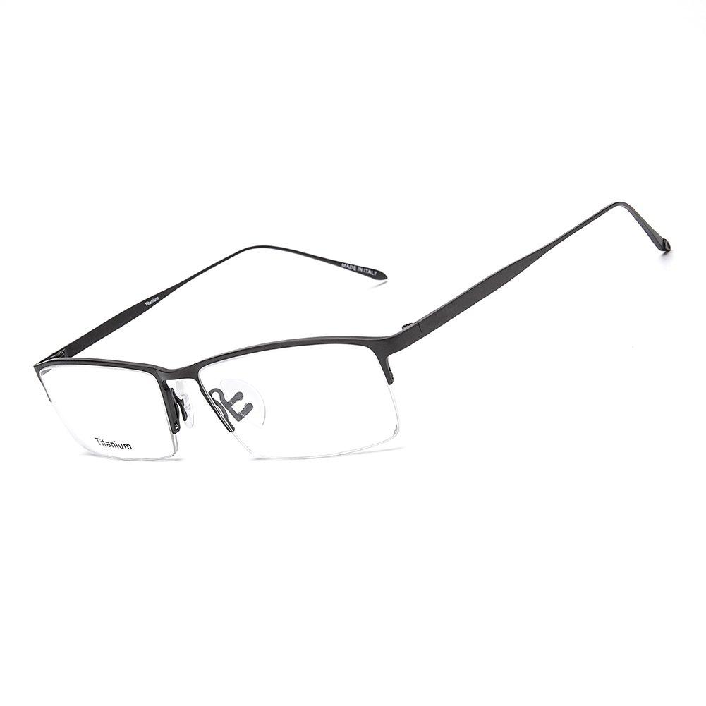 SUNBRAVE Business Titanium Half Rim Eyeglass Frames for Men Women Working Computer Meeting Glasses (Gun)