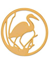 MS Koins Stainless Steel Swan Coin Yellow Gold Plated Fits Our Coin Locket System, 30mm Diameter