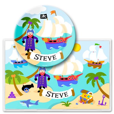 Olive Kids Pirates Personalized Meal Time Plate Set