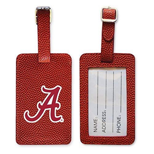 Zumer Sport Alabama Crimson Tide Basketball Leather Luggage Tag - Made from The Same Exact Materials as a Ball - Unique Design for Standing Out During Travel - ID Card Badge Slot - Orange ()