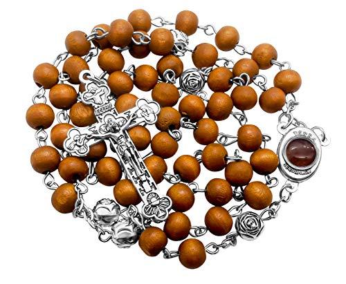 Nazareth Store Wood Beads Catholic Rosary Necklace Beaded Hail Mary Roses Jerusalem Holy Soil Catholic Stainless Silver Cross