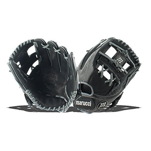 Marucci MFGGXM1100I-GY/BK-LH Geaux Mesh Series Baseball Fielding Gloves, Gray/Black, 11