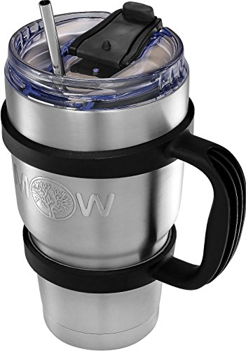 Great Coffee Travel Mug - Stainless Steel Tumbler Insulated Coffee Mug / Tumbler with Straw and Handle + Leak Proof Lid | Large Cup for To Go Drinks
