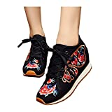 Chinese Canvas Embroidered Women Cloth Shoes Increased National Sneaker Casual Shoes Butterfly Sneakers Traveling Black,7.5 B(M) US