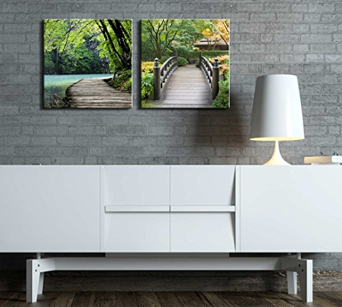 Two Piece Bridge by a Lake Surrounded by Trees on a Japanese Garden on 2 Panels