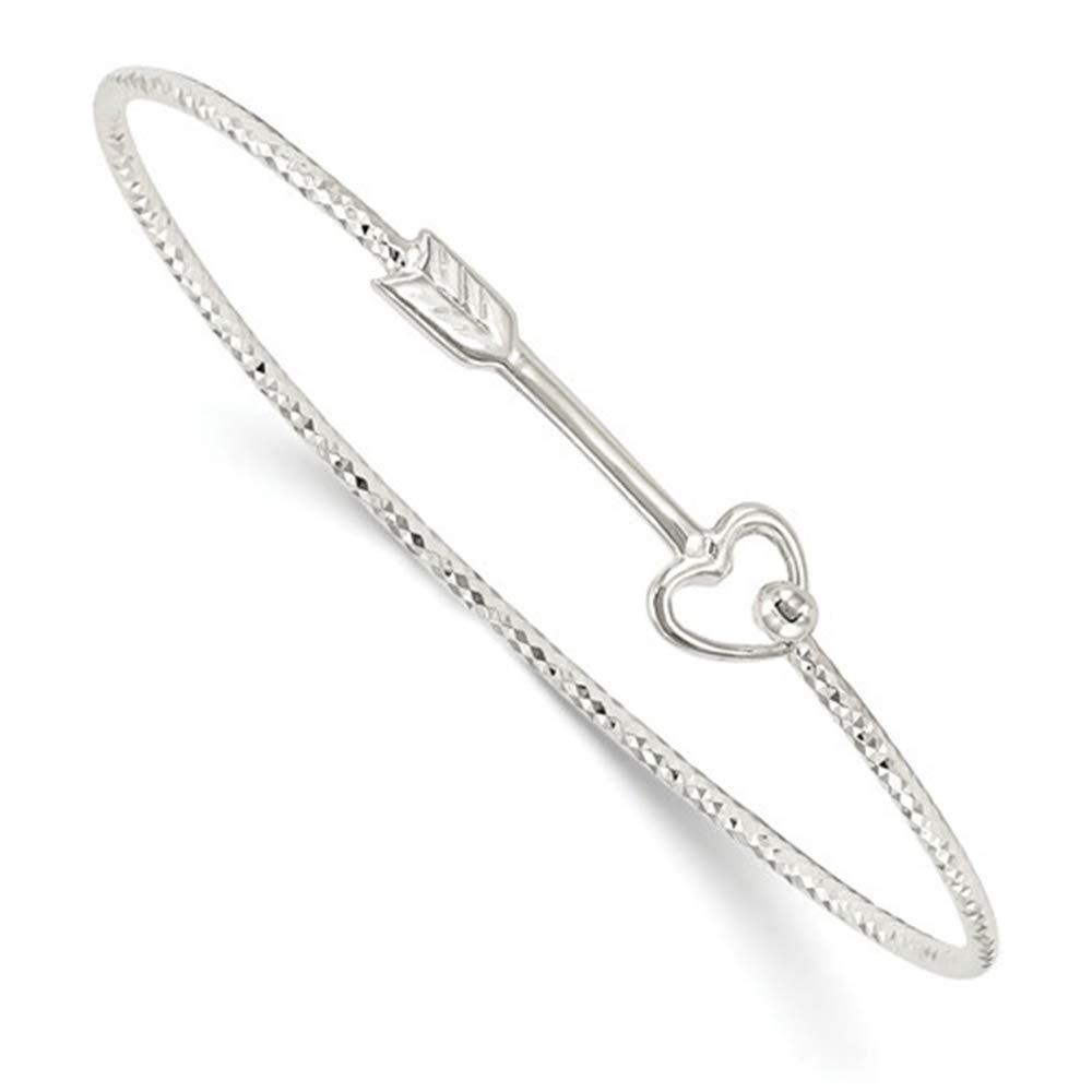 Brilliant Bijou Solid .925 Sterling Silver Diamond Cut Arrow Interlocking Bangle Bracelet 7 inches