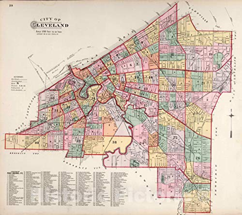 Historic Map | City of Cleveland, 1892 Atlas | Vintage Wall Art | 18in x 16in ()