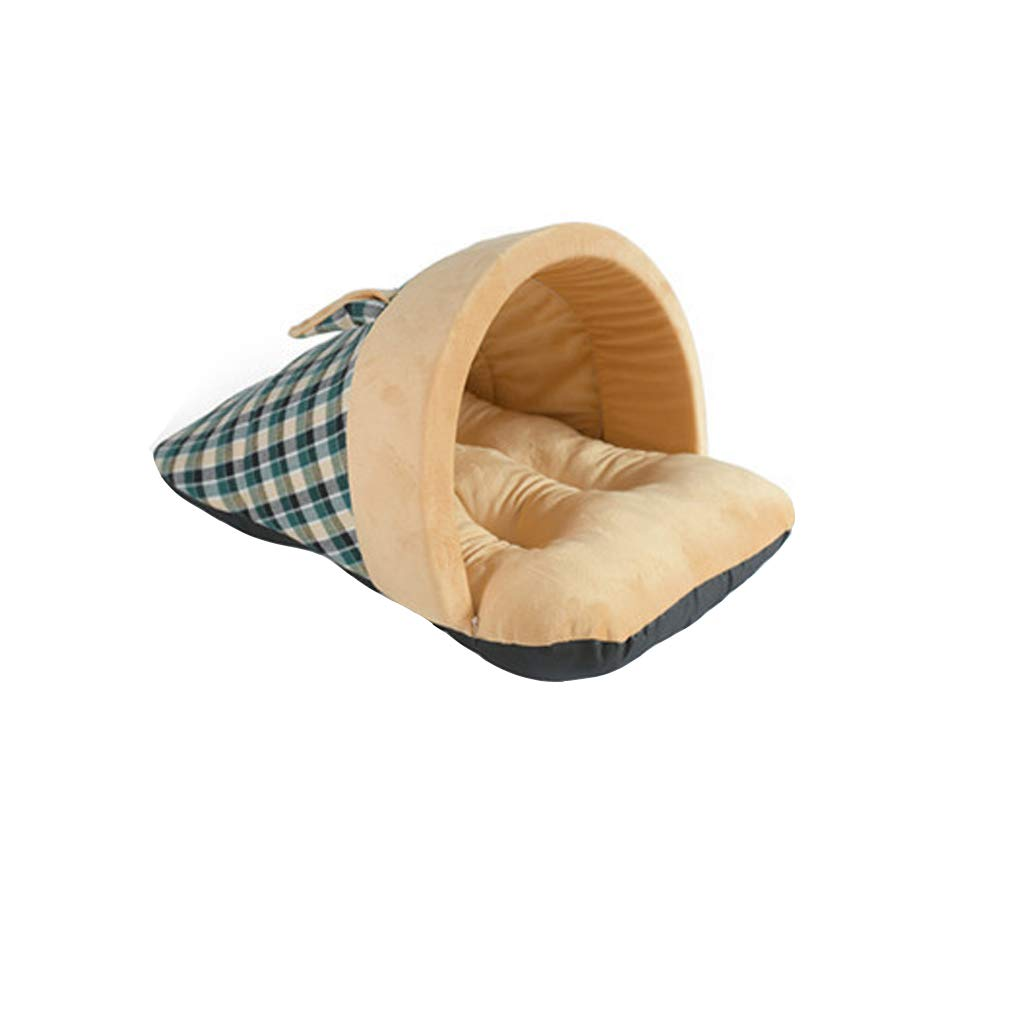 Camel M Camel M Guofangfang Dog House, Kennel British Style Slippers Semi-closed Kennel Winter Warm Cat Litter Pet Nest Dog Mattress Pet Supplies (color   Camel, Size   M)