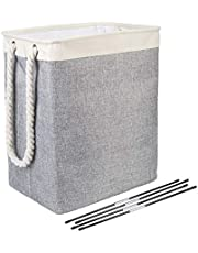 Foldable Laundry Hamper with Rods ARZER Storage Basket for Laundry Large Bin for Clothes Blankets (Light Gray)