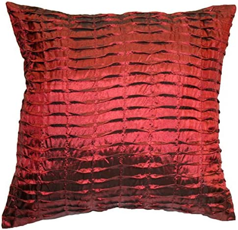 Violet Linen Silky Throw Pillow, Pleated Burgundy