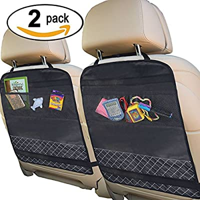 Best Kick Mats with Backseat Organizer Pocket Storage - 100% Waterproof - 2 Pack