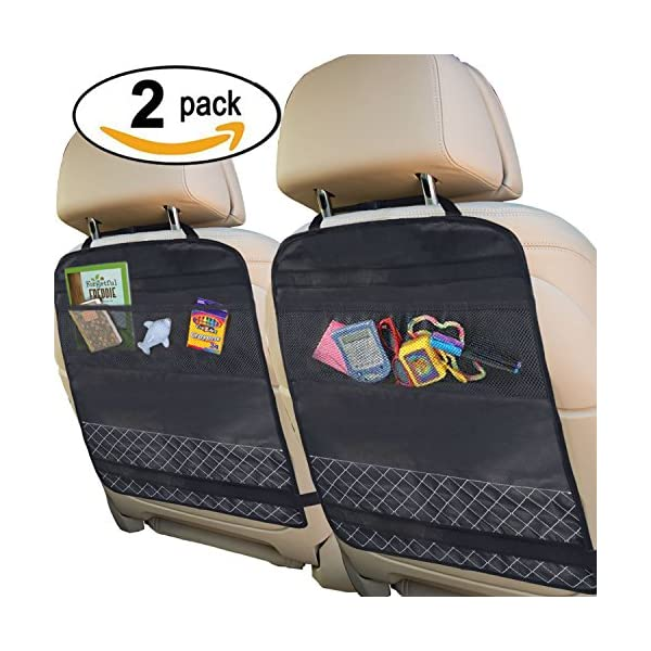 Best Kick Mats With Backseat Organizer Pocket Storage   100% Waterproof   2 Pack