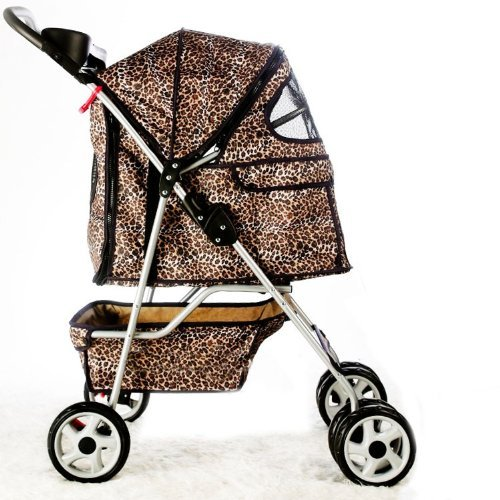 4 Wheels Pet Dog Cat Stroller w/RainCover All Colors Classic Leopard Skin