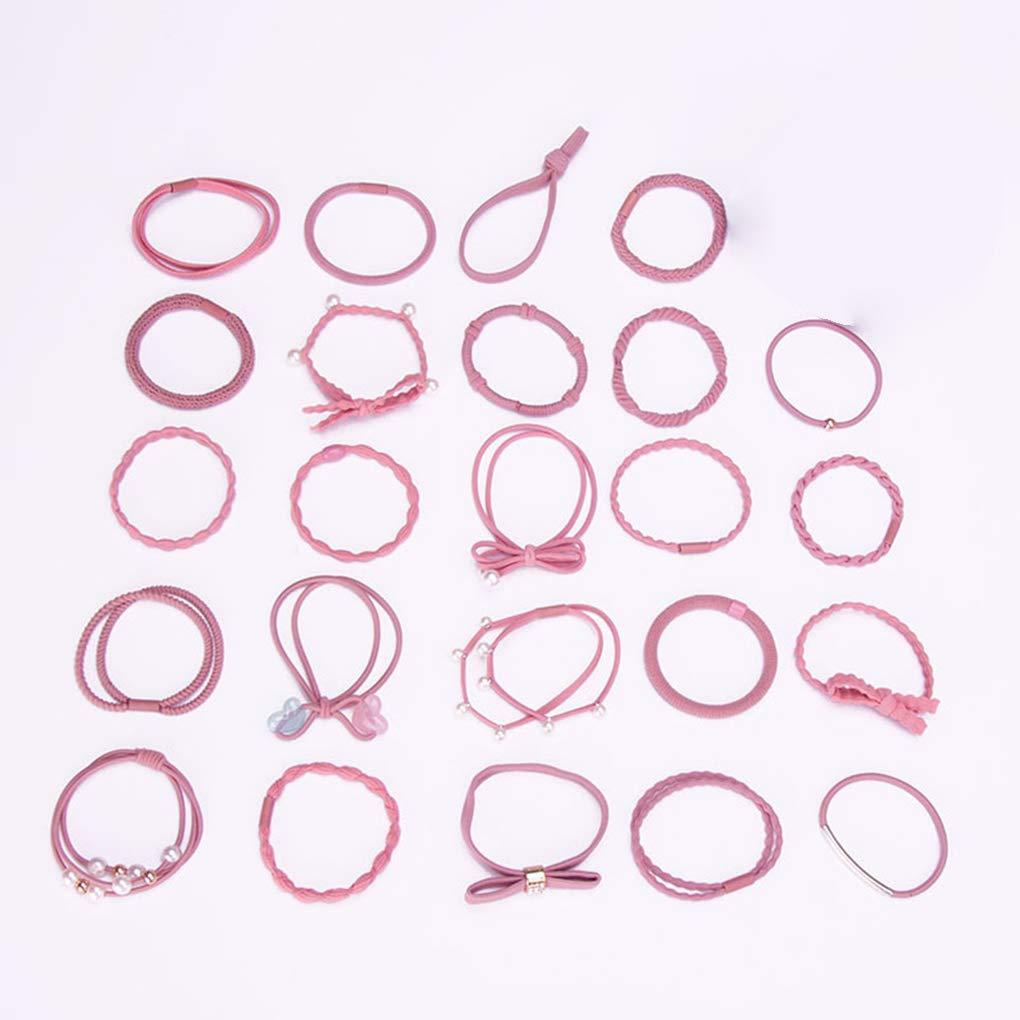 Yangge Yujum 24PCS Women Elastic Hair Tie Ring Ponytail Girl Holder Knot Pearl Rhinestone Head Rope Band Headband Headwear
