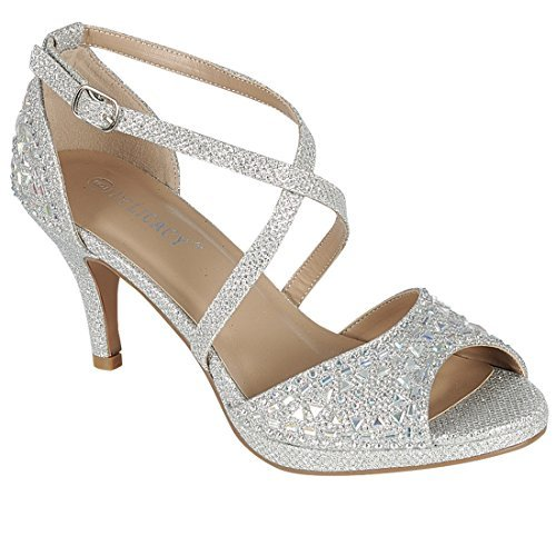 Forever IG09 Women's Rhinestone Ankle Criss Cross Strap Stiletto Heel Sandals, Color Silver, Size:10 ()