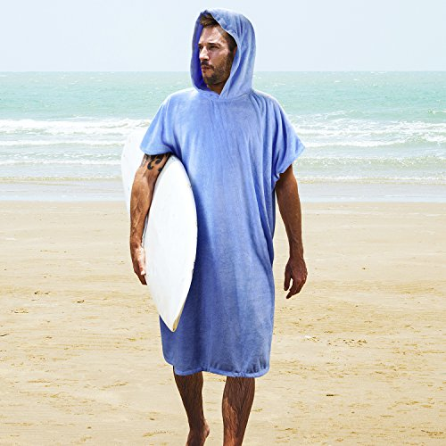 Color : Sky blue Wetsuits Robe Towel Poncho Unisex Changing Robe