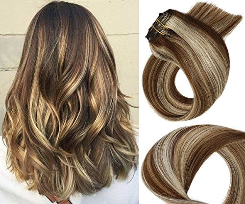 Clip in Extensions Human Hair Medium Brown with Blonde Highlights 7 Pieces Per Set Silky Straight Soft Weft Remy Real Hair