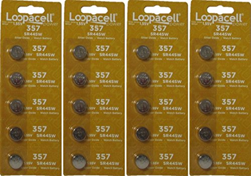 (20 Loopacell 357 SR44 Silver Oxide Watch Electronic Battery)