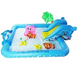 Kids Inflatable Pool. This Small Portable Kiddie Blow Up Above Ground Swimming Pool Is Great For Toddlers & Children To Have Outdoor Water Fun With Floats & Toys. Family Octo Spray & Splash.