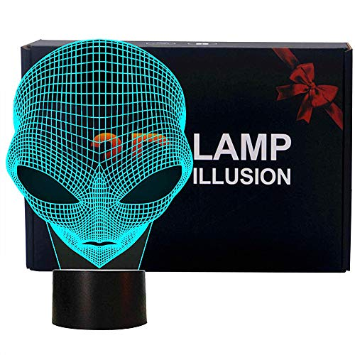 FLYMEI 3D Optical Illusion Desk Lamp Unique Night Light for Home Decor 7 Colors Changing USB Powered Touch Button LED Table Lamp - Best Gift for Children's Day/Kids/ Friends/ Birthdays/Holidays -