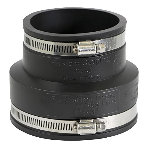 EVERCONNECT 4836 Flexible PVC Reducing Coupling with Stainless Steel Clamps, 4 x 3, - 4 Pvc Clamp 3 Pipe
