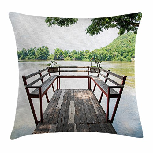 Riverside Deck Chair Set (Travel Throw Pillow Cushion Cover by Ambesonne, Wooden Seem Terrace on the Riverside Romantic Calming in Woods Image Print, Decorative Square Accent Pillow Case, 28 X 28 Inches, Dark Brown and Green)