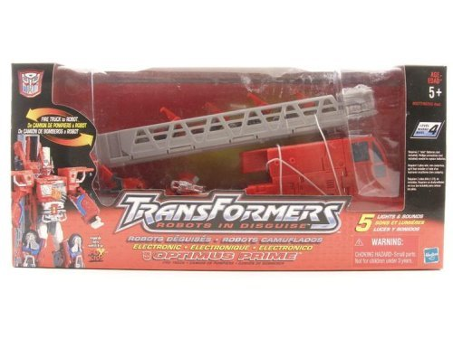 Transformers RID Robots in Disguise Deluxe Electronic light & Sound OPTIMUS PRIME Fire Truck (2001 Hasbro) ()