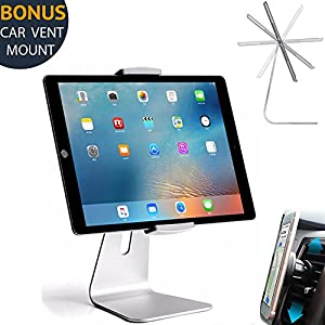 Elegant Adjustable Aluminum Tablet Holder Stand, 360° Rotatable, Desktop Stand for 6~12.9 inch iPad Pro Air Mini Galaxy Tab Nexus, Tablet Mount for Store Showcase Kitchen Countertop Office Reception