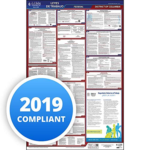 2019 District of Columbia Labor Law Poster, All-in-One OSHA Compliant DC State & Federal Laminated Poster (26