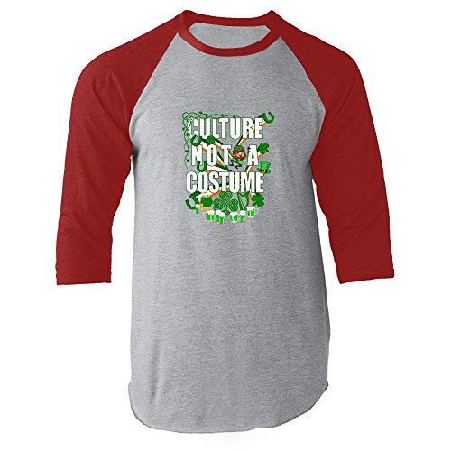 Culture Not A Costume St Patrick's Day Red 3XL Raglan Jersey (Culture Not A Costume Meme)