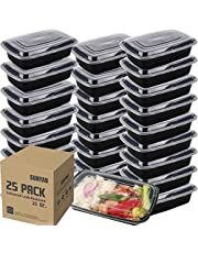 25 Pack SUNYAO Meal Prep Containers - Single 1 Compartment Food Containers - Bento Lunch Boxes with Lids, FDA Approved & BPA Free, Stackable & Reusable, Dishwasher/Microwave/Freezer Safe, 28 oz