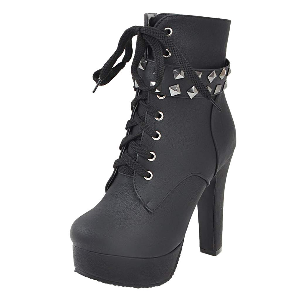 Inverlee Shoes Womens Round Toe Lace Up Ankle Buckle Chunky High Heel Platform Knight Boots Black
