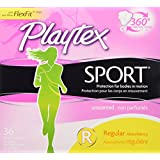 Playtex Sport Unscented Tampons with FlexFit Protection, Regular Absorbency, Pack of 36 Tampons