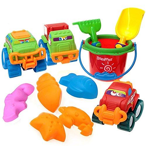 Loxfir 11pcs Beach Toys, Sand Toy Set with Bucket, Shovel, Rake, Cars and Sand Molds for Kids