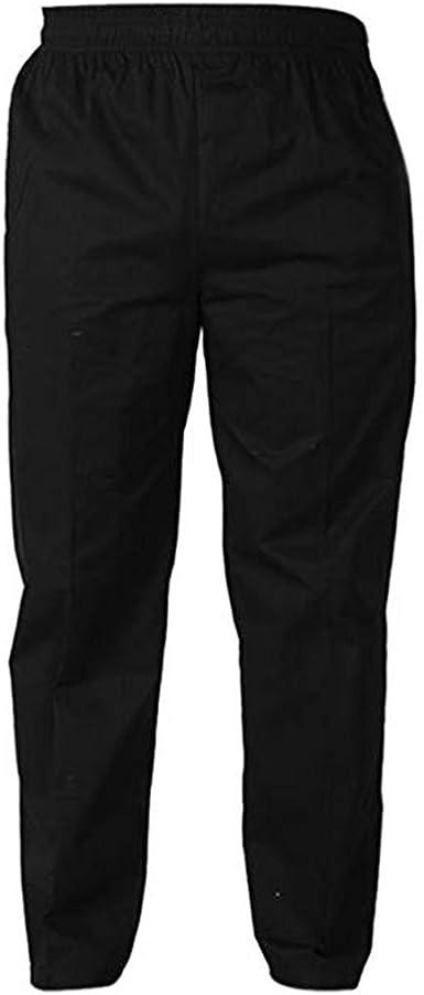 Amazon Com Levoberg Pantalones De Chef Para Hombre Cintura Elastica Pantalones De Cocina Uniformes Para Restaurante Hotel Negro Tiro Caido 3xl Clothing