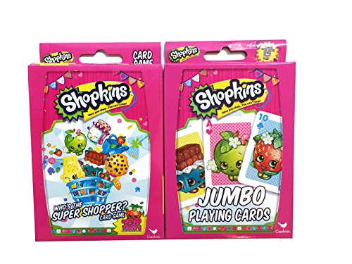Hasbro Shopkins Card Games Bundle With 1 Top Trumps Who's the Super Shopper Card Game Set and 1 Jumbo Playing Cards Set 2 Items -
