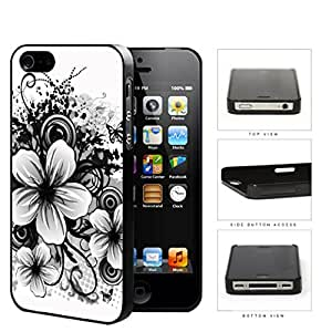 Floral Sketch Drawing Black And White Hard Plastic Snap On Cell Phone Case Apple iPhone 4 4s