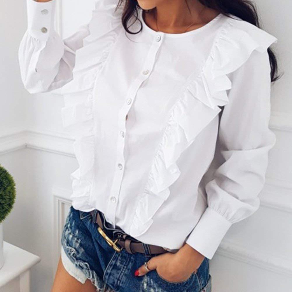 Battercake Blusa Las Mujeres Elegantes Shirt Sólido Tops Camisetas ...