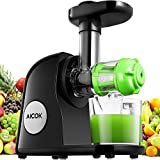 Aicok Juicer Slow Masticating Juicer Extractor, Cold Press Juicer Machine, Quiet Motor and Reverse Function, with Juice Jug and Brush to Clean Conveniently, High Nutrient Fruit and Vegetable Juice, Black