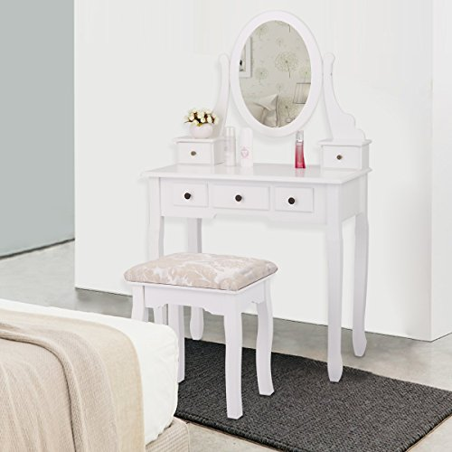 JAXPETY 5 Drawers Vanity Table Set with Mirror and Cushioned Stool Makeup Dressing Table Organizer Bedroom, White Finish