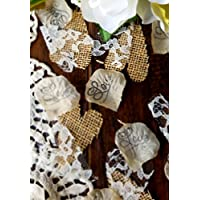 Burlap and Lace Silk Rose Petals Rustic Wedding Confetti for Table Runner Or Aisle Runner
