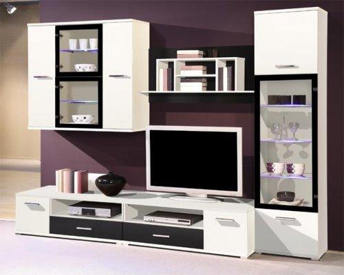 Wohnzimmer Anbauwand Modern 929, Wohnwand Schrankwand Schwarz/Weiß ...
