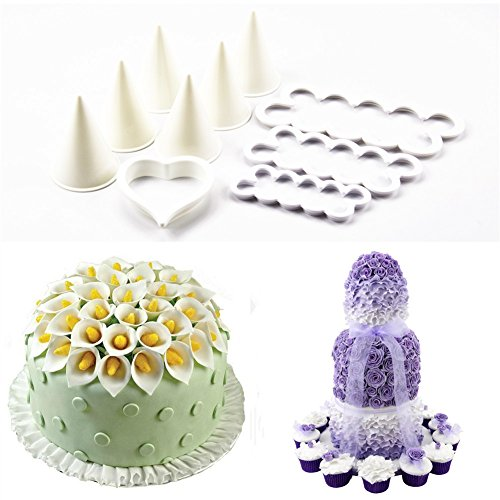 TANGCHU Rose Lily Cutter and Formers Set Fondant Cake