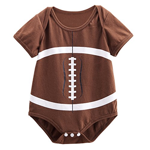 Baby Boy Football Costume (Mombebe Baby Boys' Football Costume Bodysuit (0-3 Months, Brown))