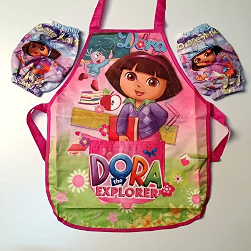 CJB Lovely Dora the Explorer Kids Waterproof Apron Sleeves Set Pink 2-6T (US Seller) Dora The Explorer Jewelry